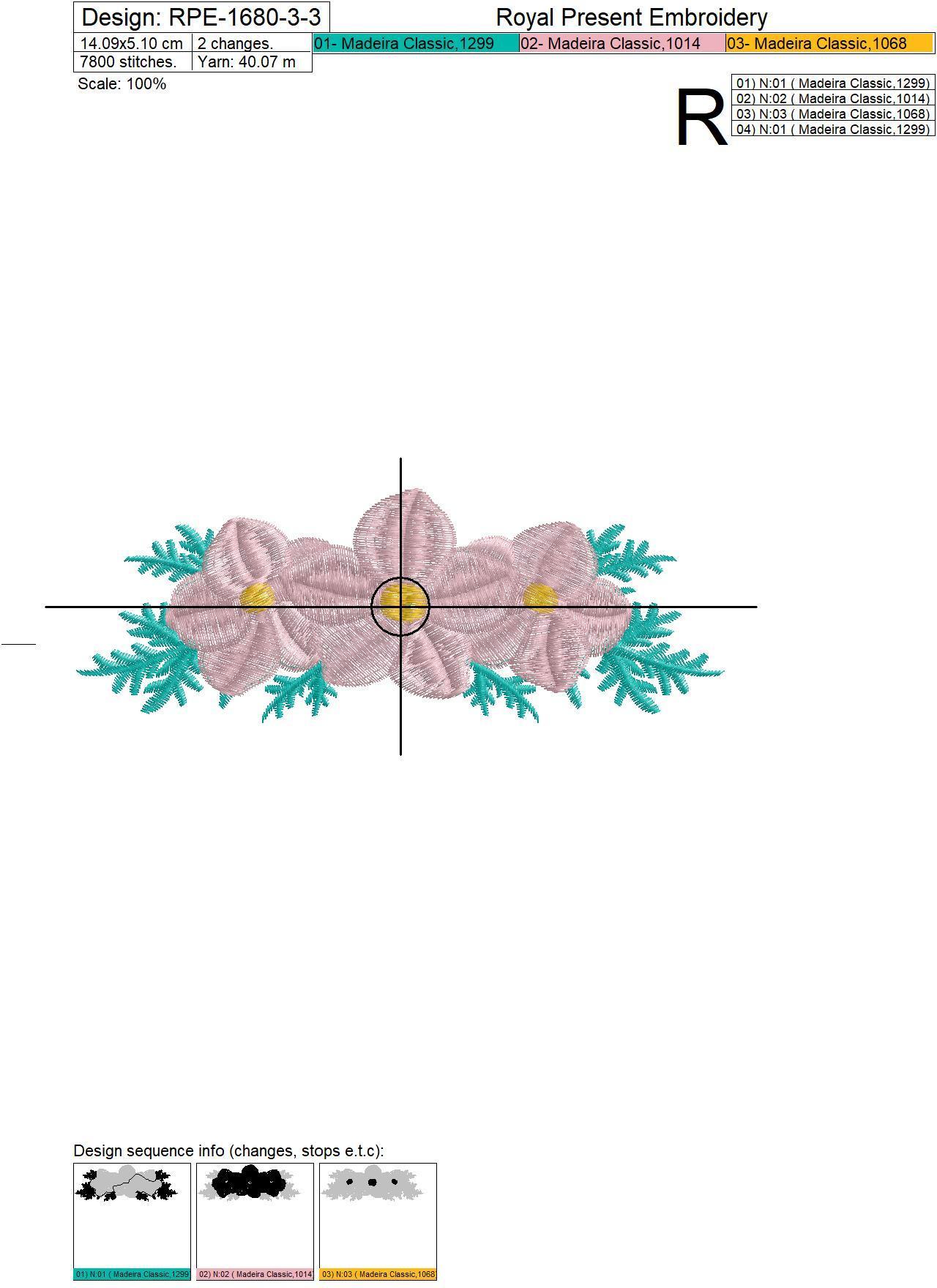 Floral Mini Border Machine Embroidery Design - 3 sizes