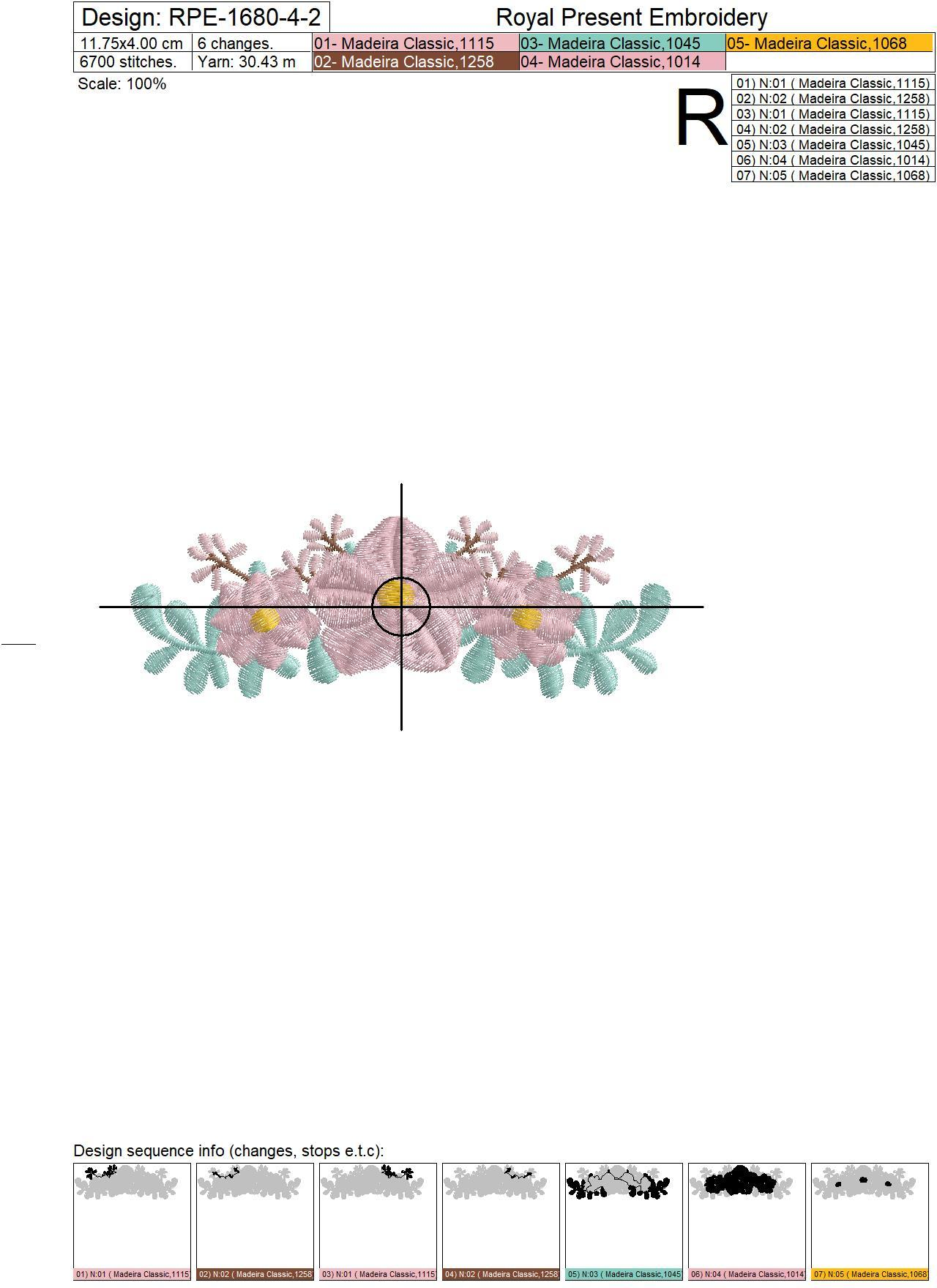 Mini ​Border with frowers Machine Embroidery Design - 3 sizes