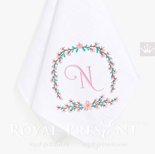 Floral Frame for monogram Embroidery Design - 3 sizes RPE-1693