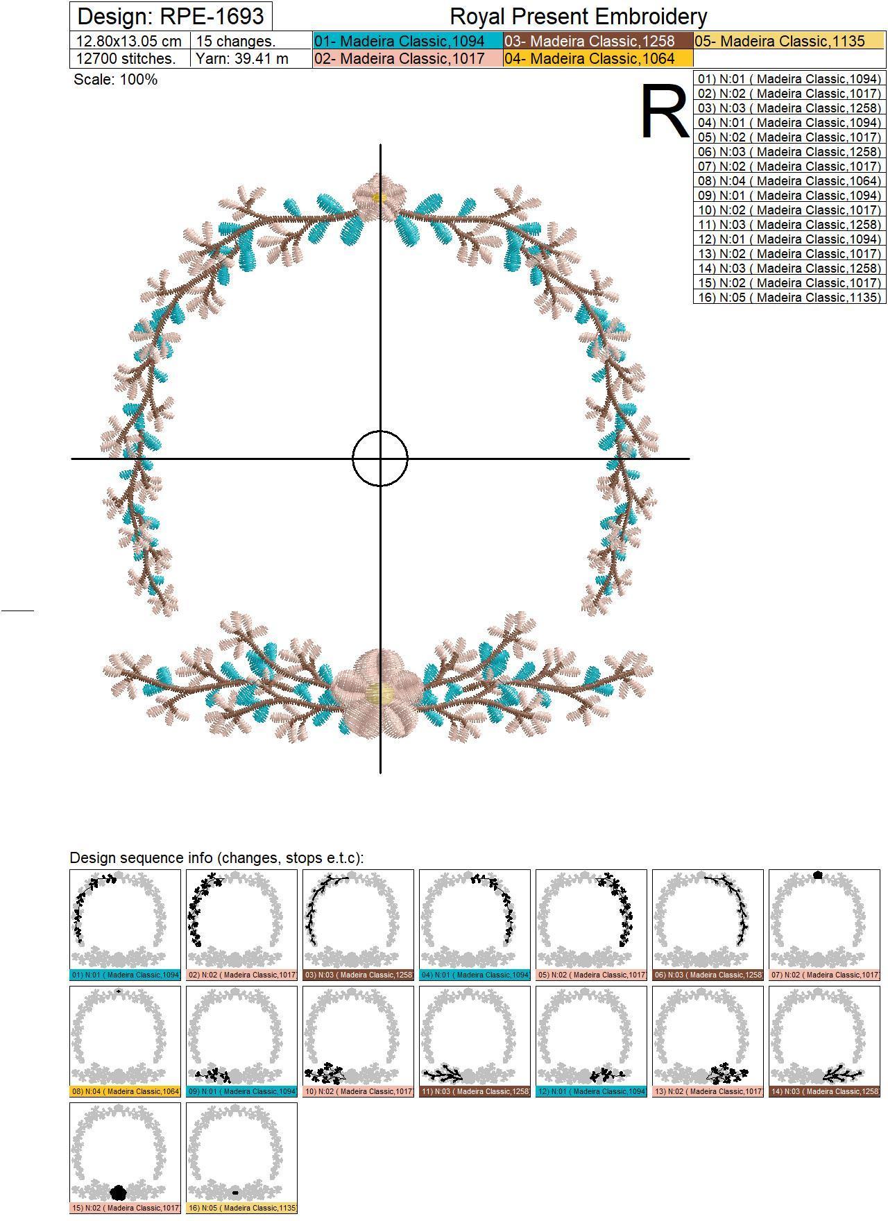 Floral Frame for monogram Embroidery Design - 3 sizes