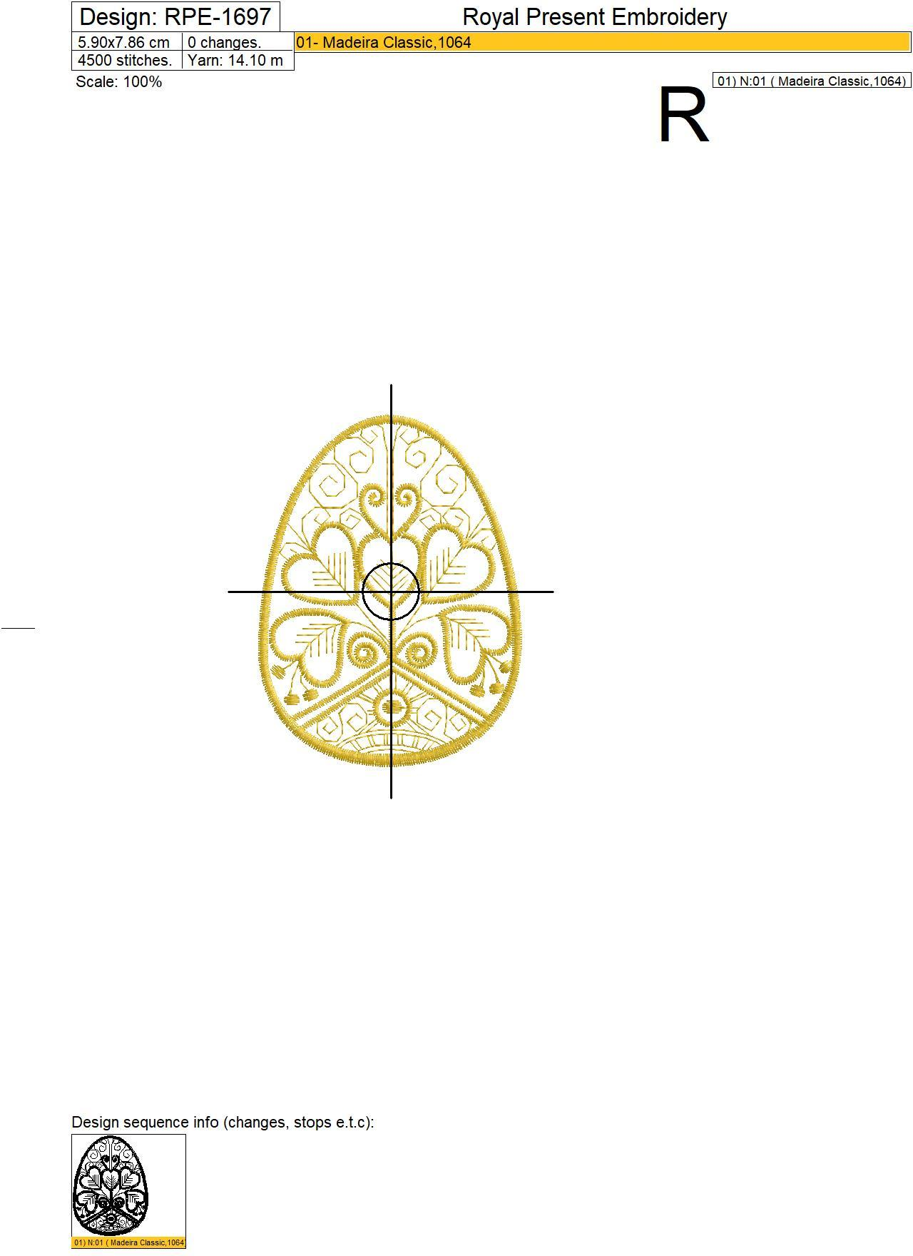 Gold line Easter Egg Machine Embroidery Design - 3 sizes