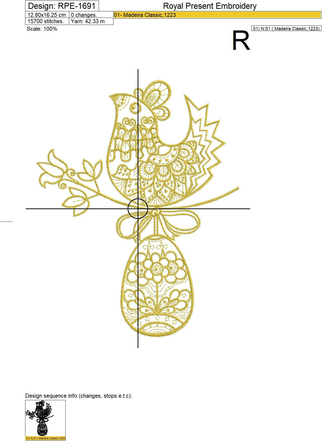 Gold Easter Hen with Egg Machine Embroidery Design - 3 sizes