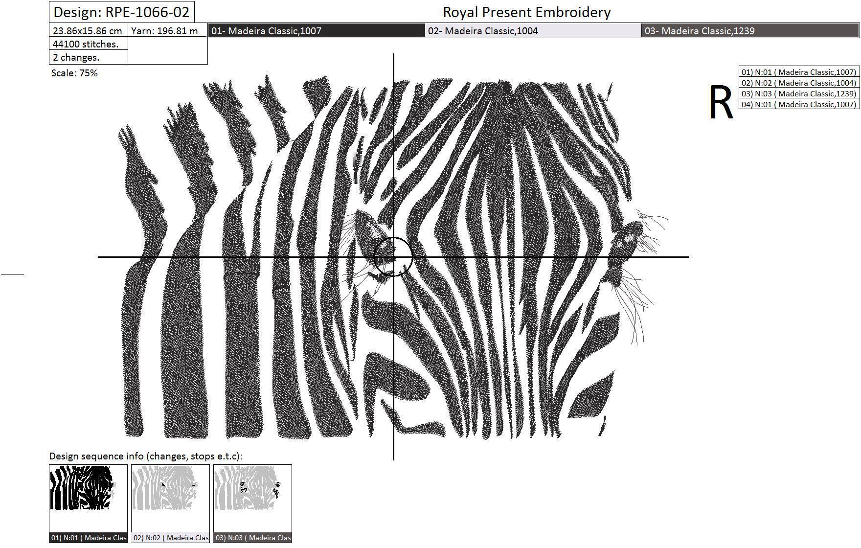Machine Embroidery Design Zebra - 3 sizes