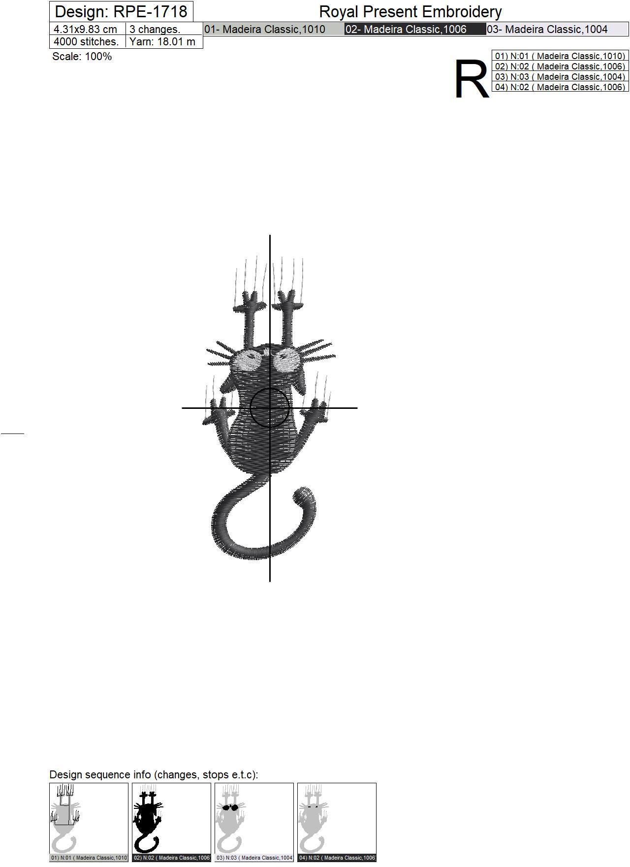 Black Сat Machine Embroidery Design - 2 sizes