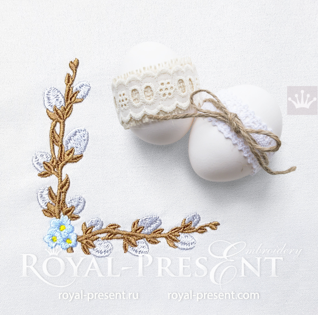 Willow corner and forget-me-nots Machine embroidery design - 3 sizes