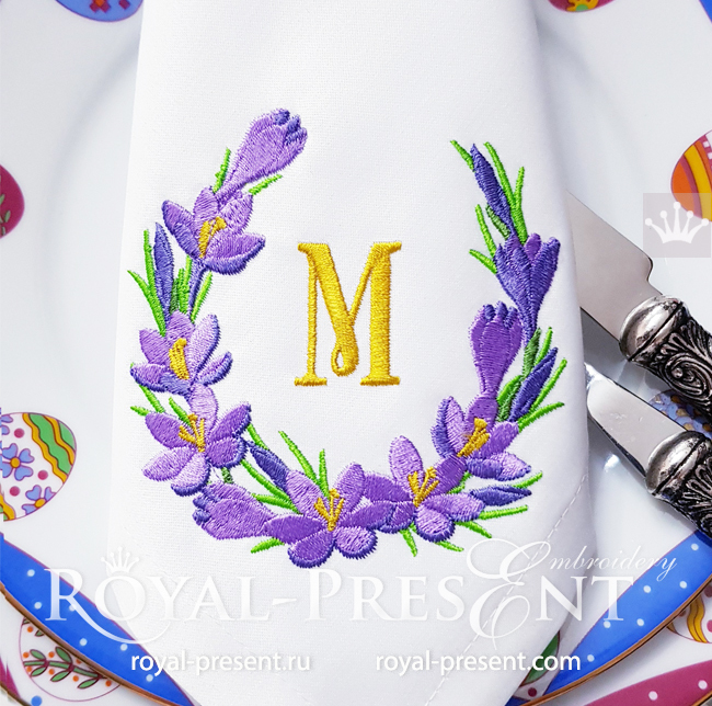 Wreath with crocuses Machine Embroidery Design - 4 sizes RPE-1721