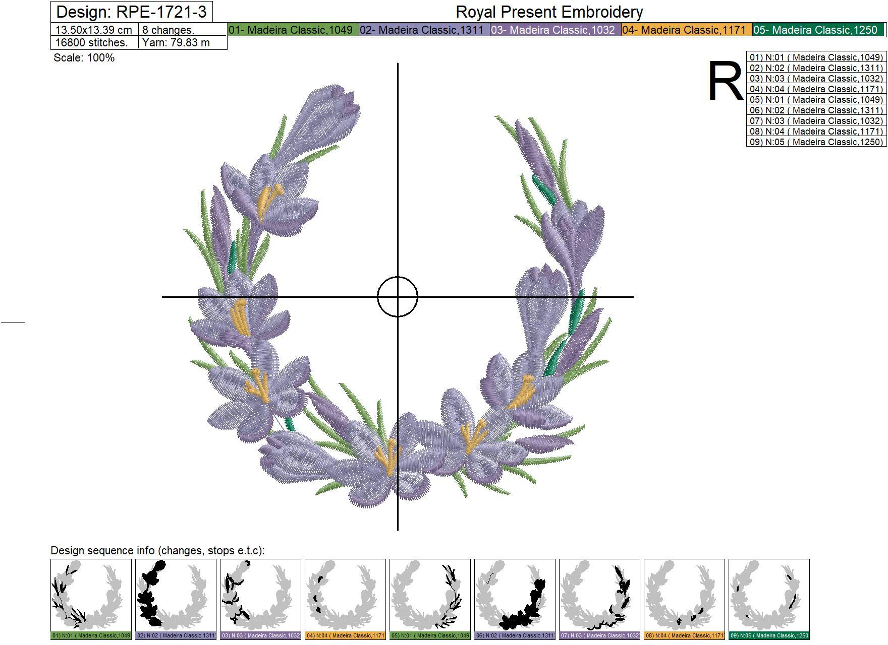 Wreath with crocuses Machine Embroidery Design - 4 sizes