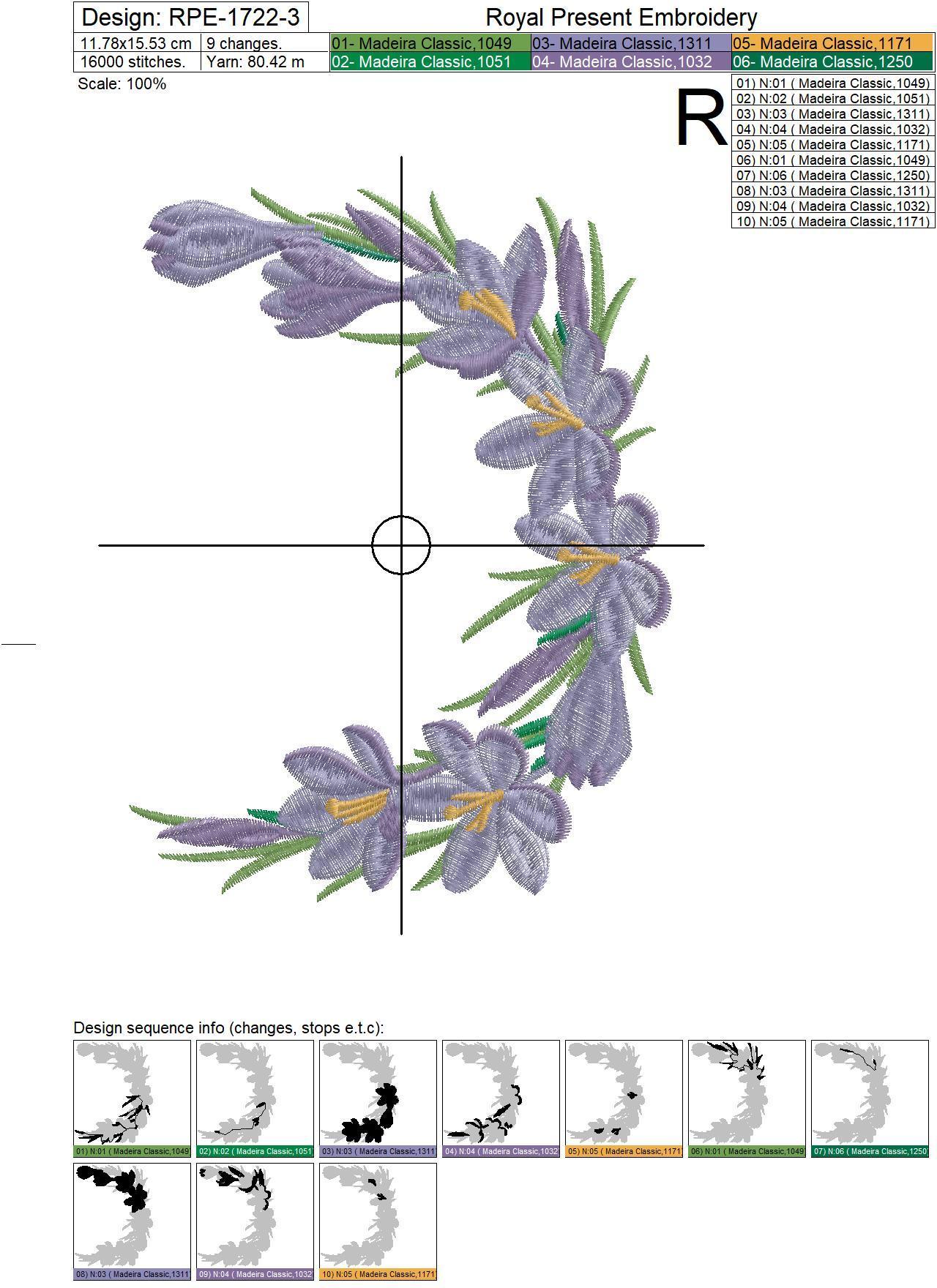 Crocuses Vignette Machine Embroidery Design - 3 sizes