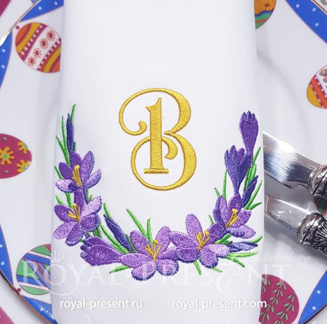 Crocuses Vignette Machine Embroidery Design - 3 sizes RPE-1722