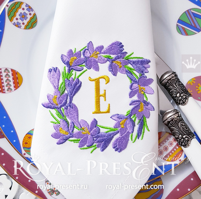 Crocus Wreath Machine Embroidery Design - 3 sizes RPE-1724