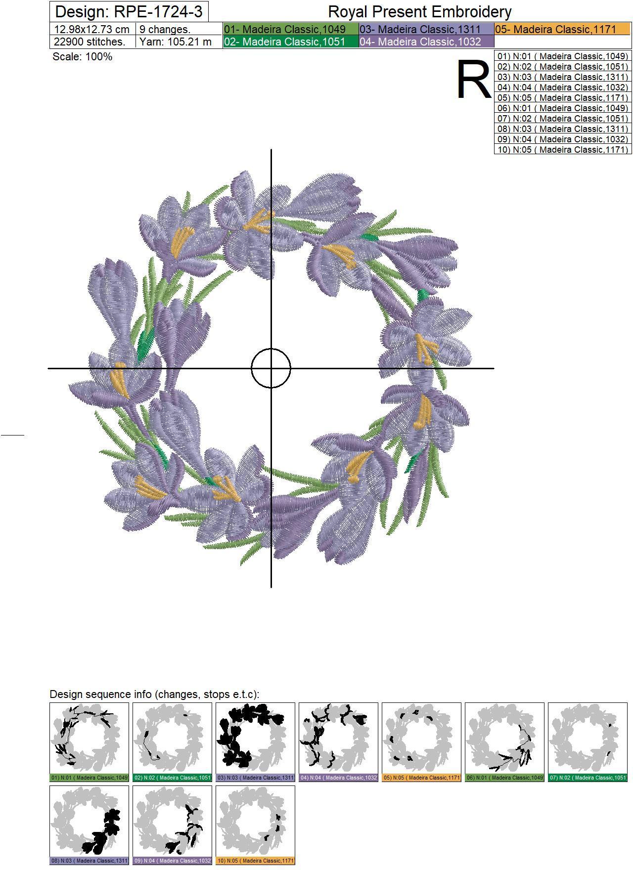 Crocus Wreath Machine Embroidery Design - 3 sizes