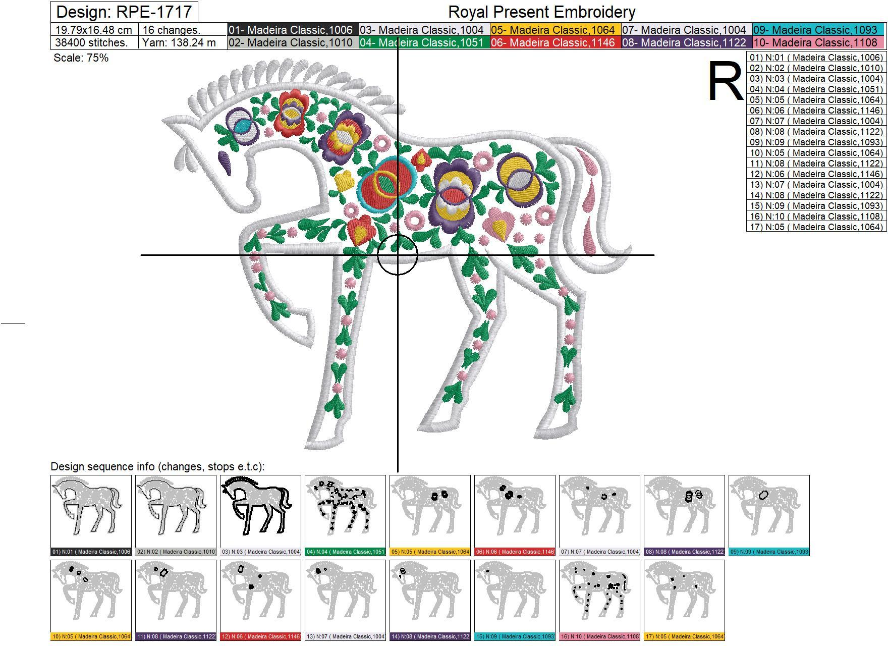 Horse with Moravian folk ornaments Appliqué Embroidery Design - 3 sizes