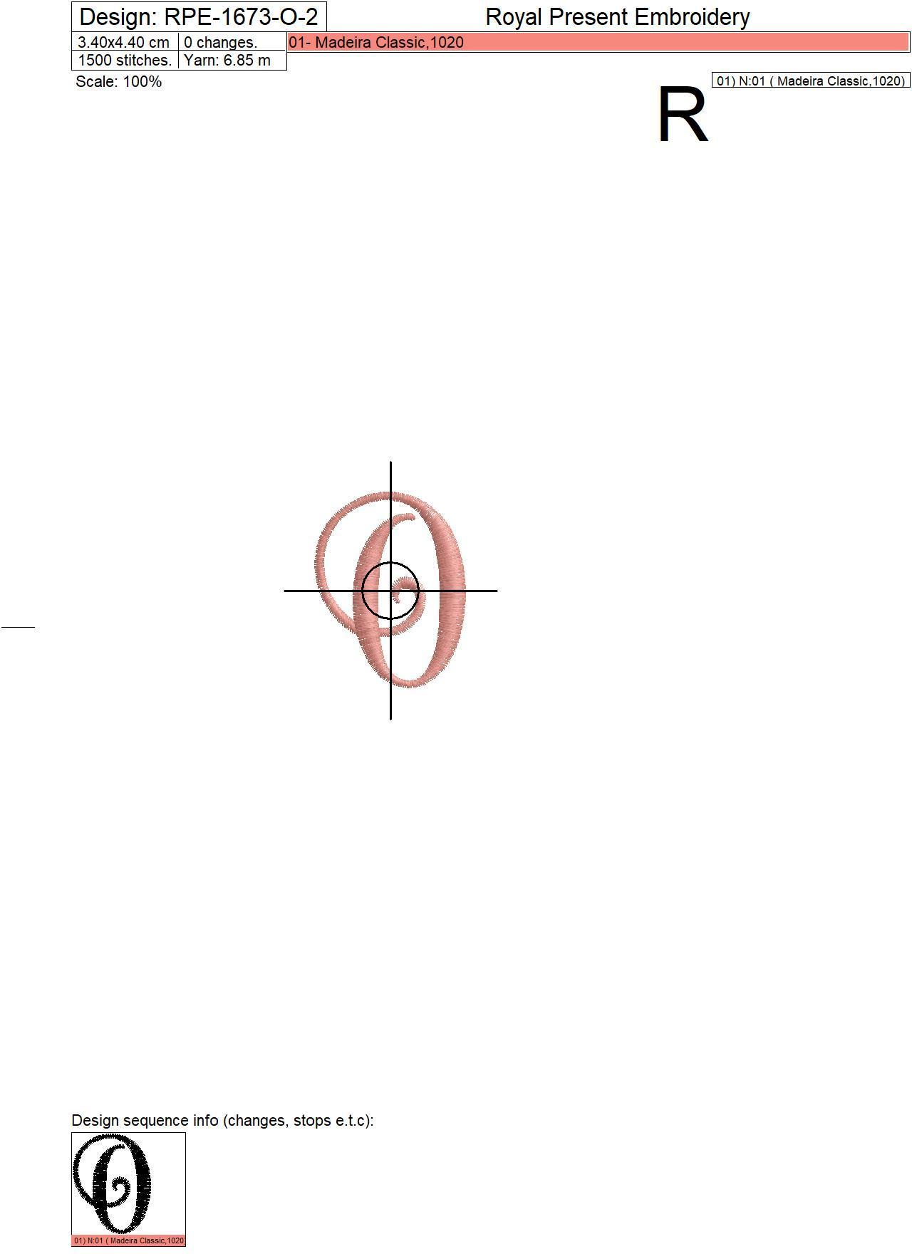 Capital Letter O Embroidery design