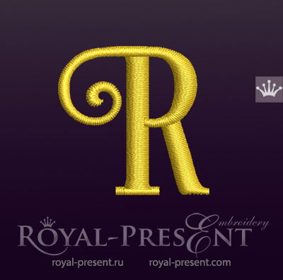 Capital Letter R Embroidery design V7 RPE-1673-R7