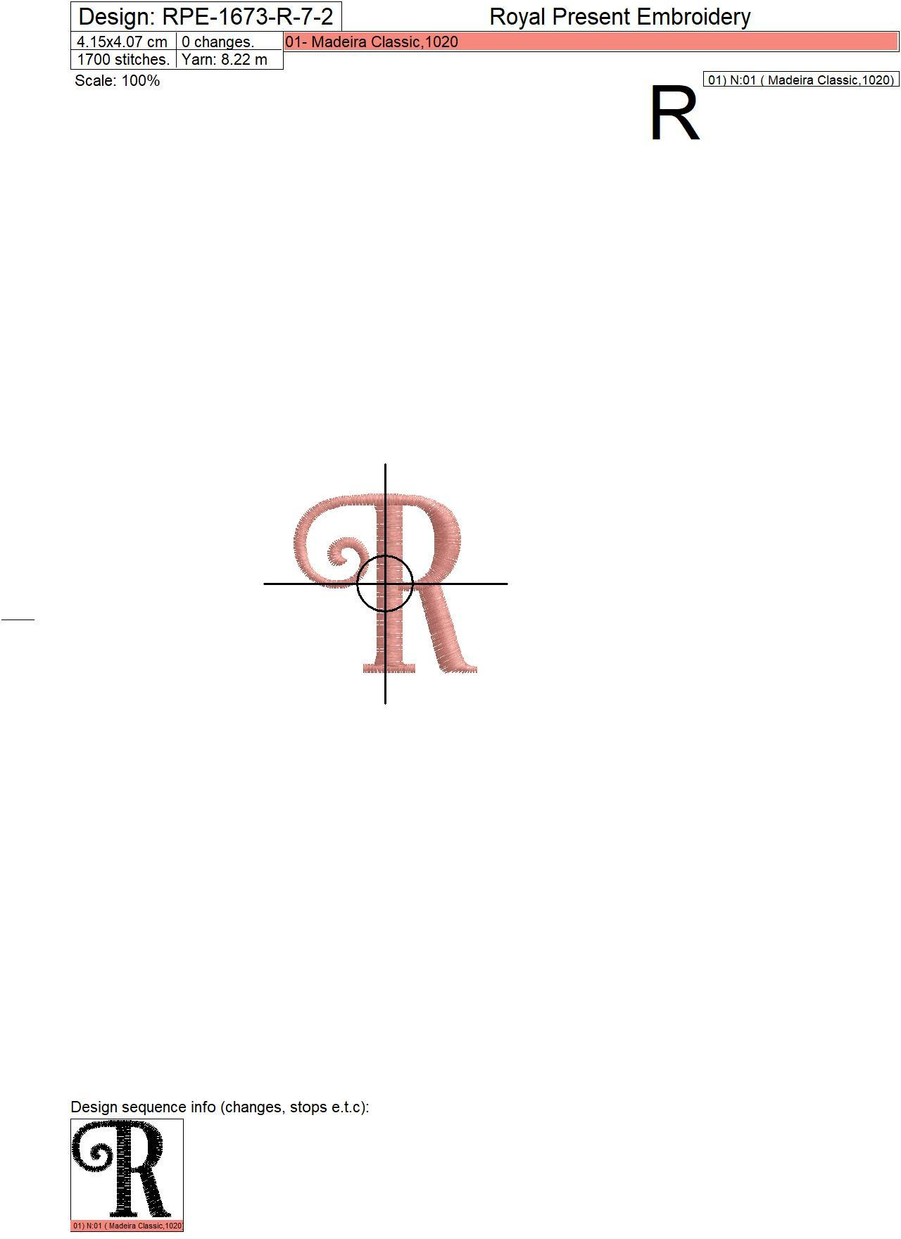 Capital Letter R Embroidery design V7