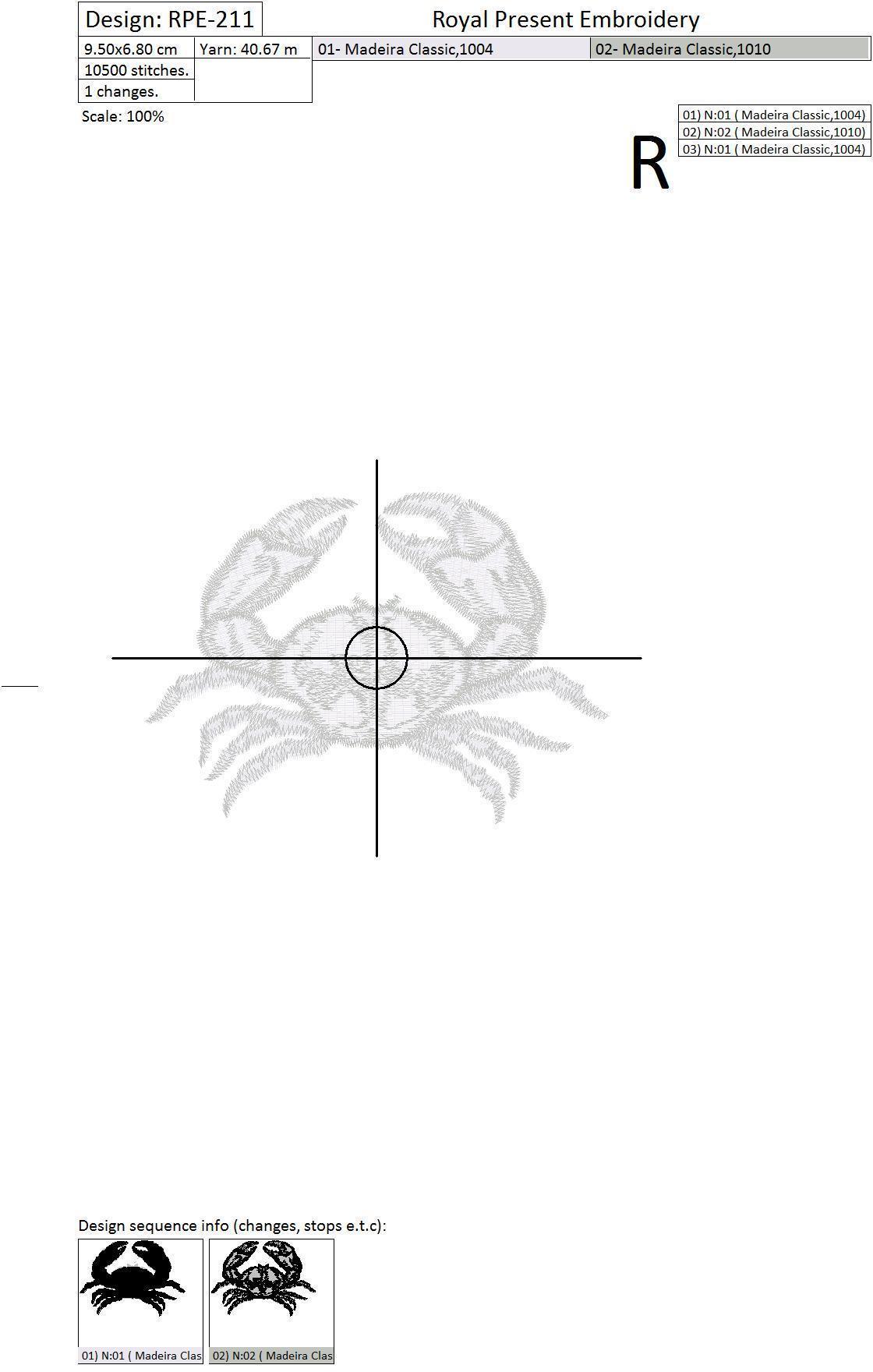 Machine Embroidery Design Crab