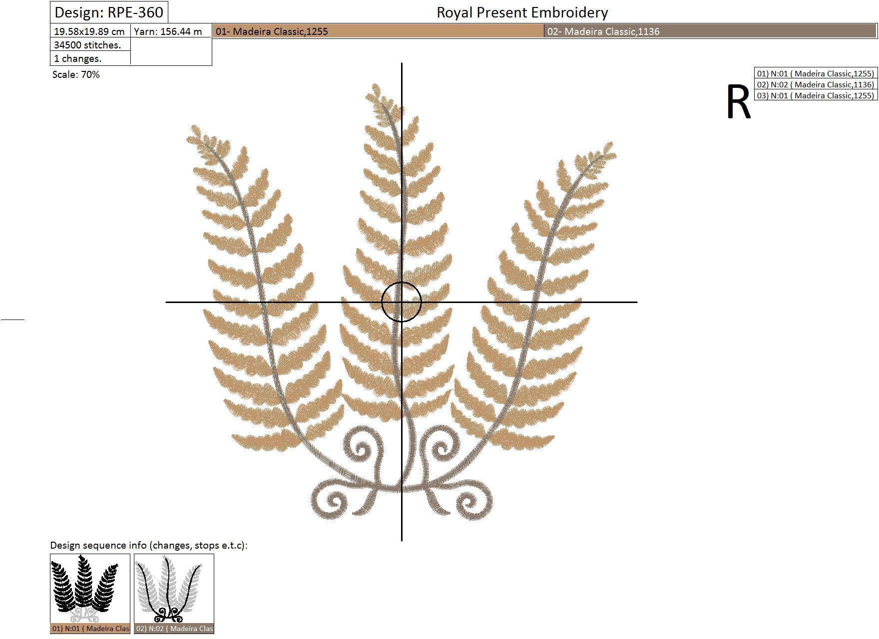 Machine Embroidery Design Fern - 2 sizes