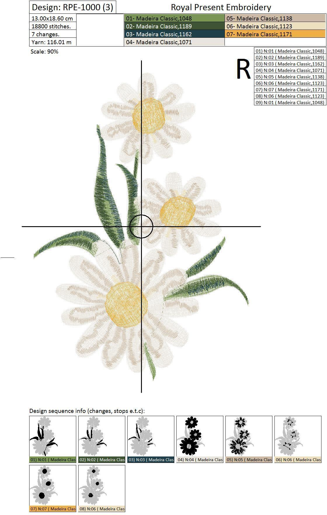 Set of Machine Embroidery Designs Daisies