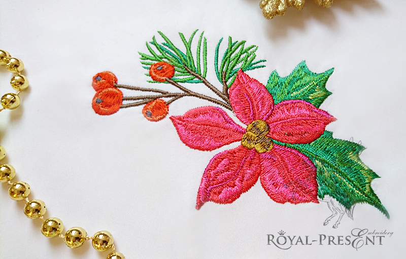 Set of Machine Embroidery Designs Red bird, poinsettia flower