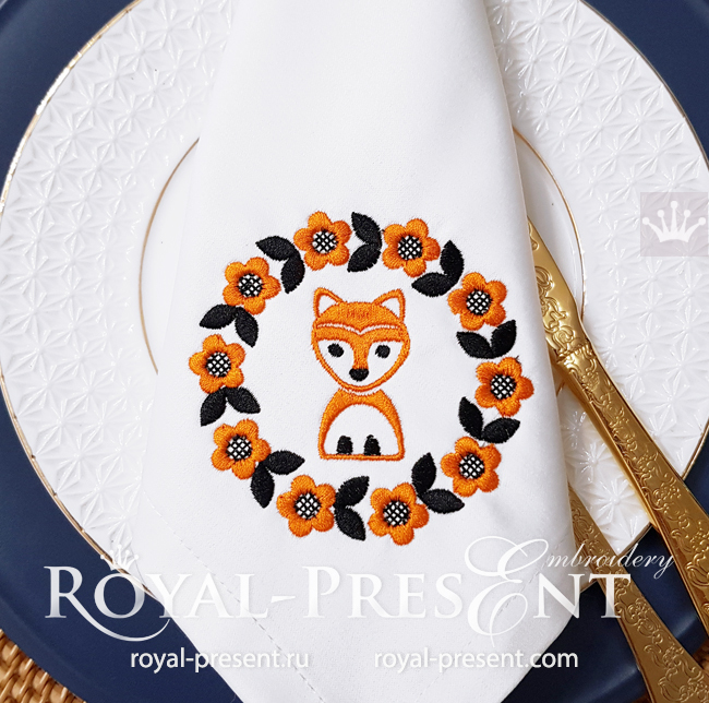 Scandinavian frame with foxes Machine Embroidery Design - 3 in 1