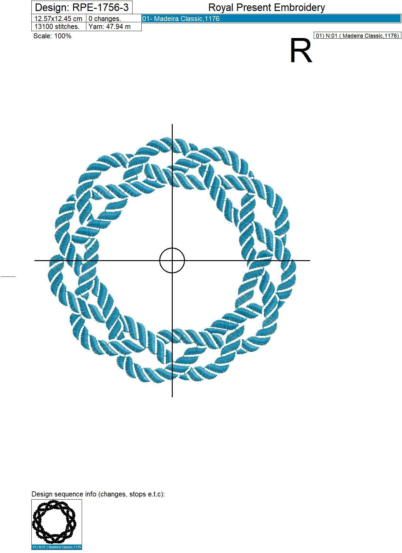 Marine knot frame machine embroidery design - 3 sizes