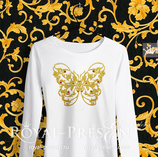 Butterfly Versace style Machine Embroidery Design - 6 sizes RPE-1755