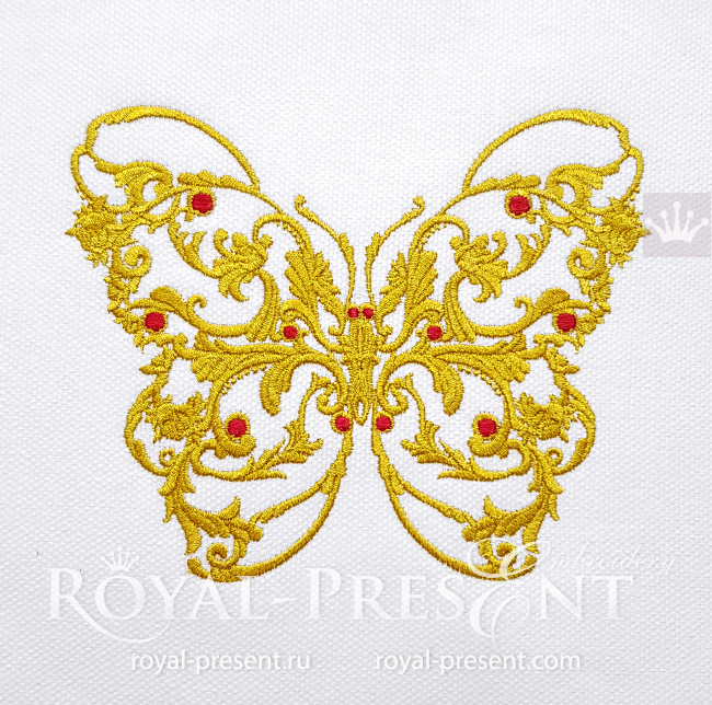 Butterfly Versace style Machine Embroidery Design - 6 sizes