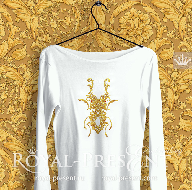 Beetle Deer Versace style Machine Embroidery Design - 6 sizes RPE-1760