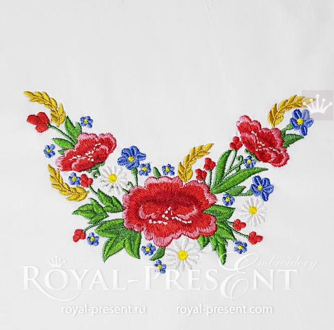 Estonian Ethnic flowers machine embroidery design - 3 sizes