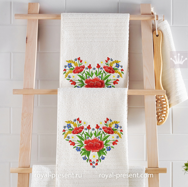 Estonian Ethnic Heart with poppies and spikelets machine embroidery design - 4 sizes RPE-1746