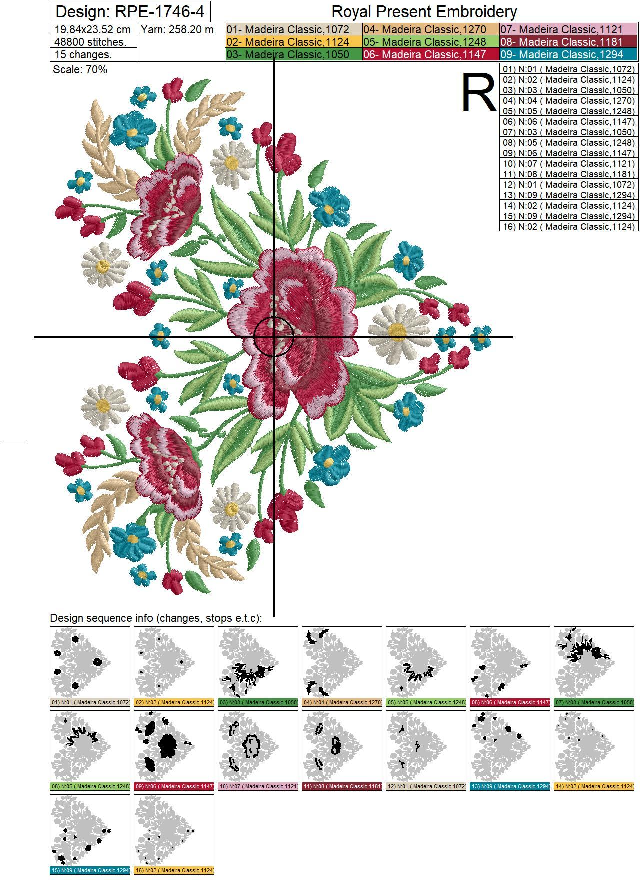 Estonian Ethnic Heart with poppies and spikelets machine embroidery design - 4 sizes