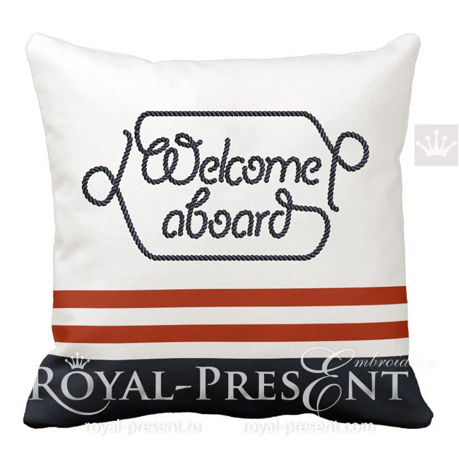 Welcome aboard inscription machine embroidery design - 7 sizes RPE-1761