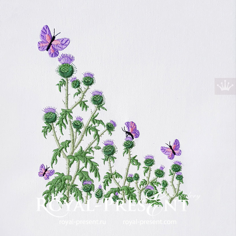 Thistle flowers and butterflies machine embroidery design - 3 sizes RPE-1765