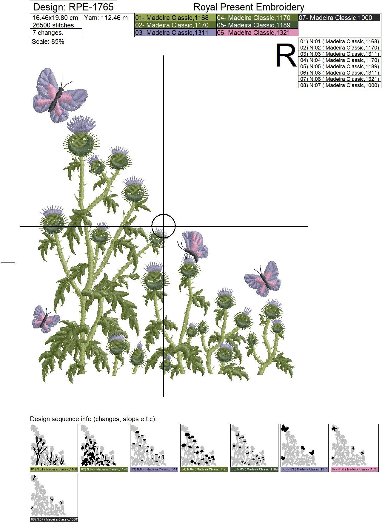 Thistle flowers and butterflies machine embroidery design - 3 sizes