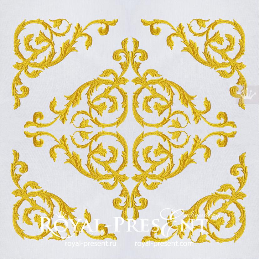 Vintage damask element machine embroidery design - 6 sizes