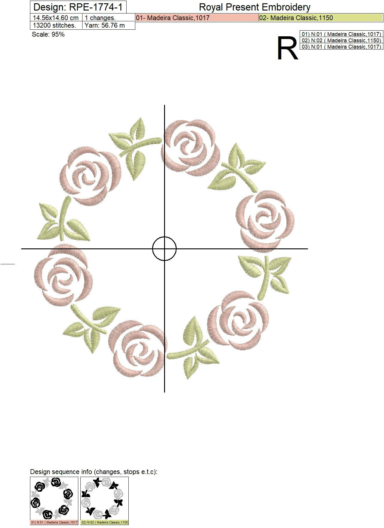 Monogram frame with roses Machine Embroidery Design - 4 sizes