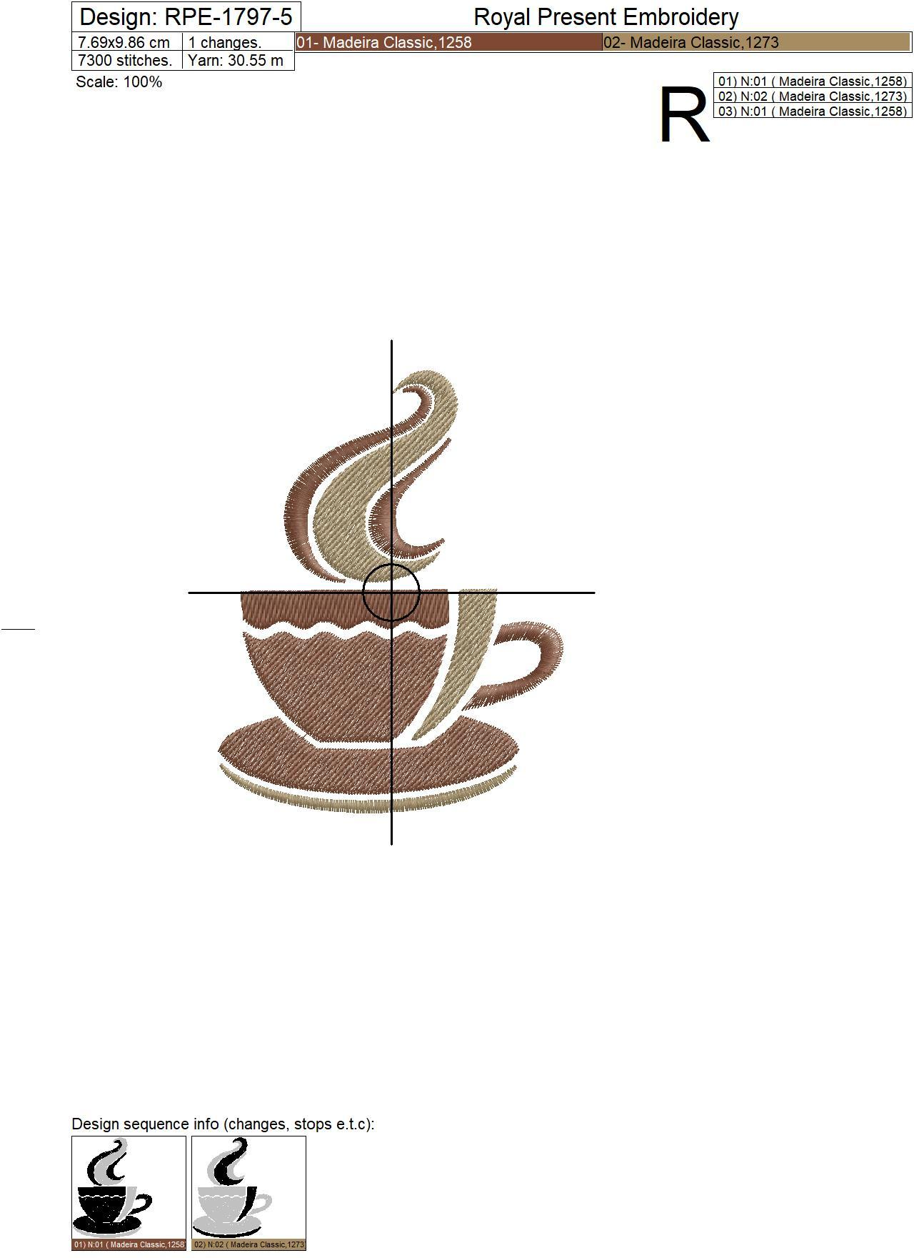 Stylized Coffee Cup Embroidery Design