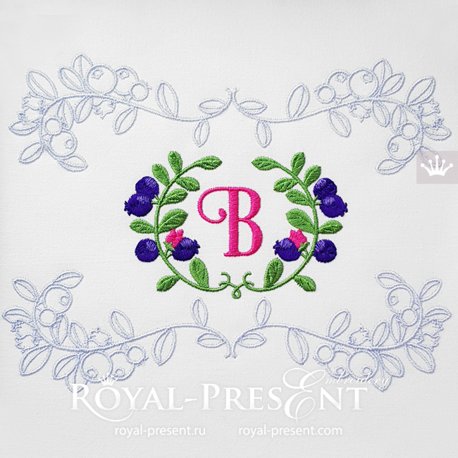Elegant frame with blueberries Machine Embroidery Designs - 2 sizes RPE-1799