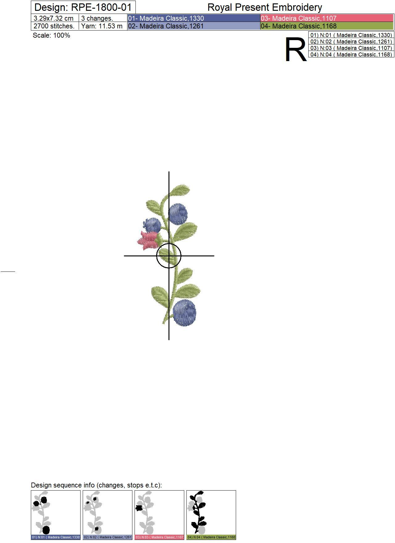 Blueberries Machine Embroidery Designs - 2 sizes