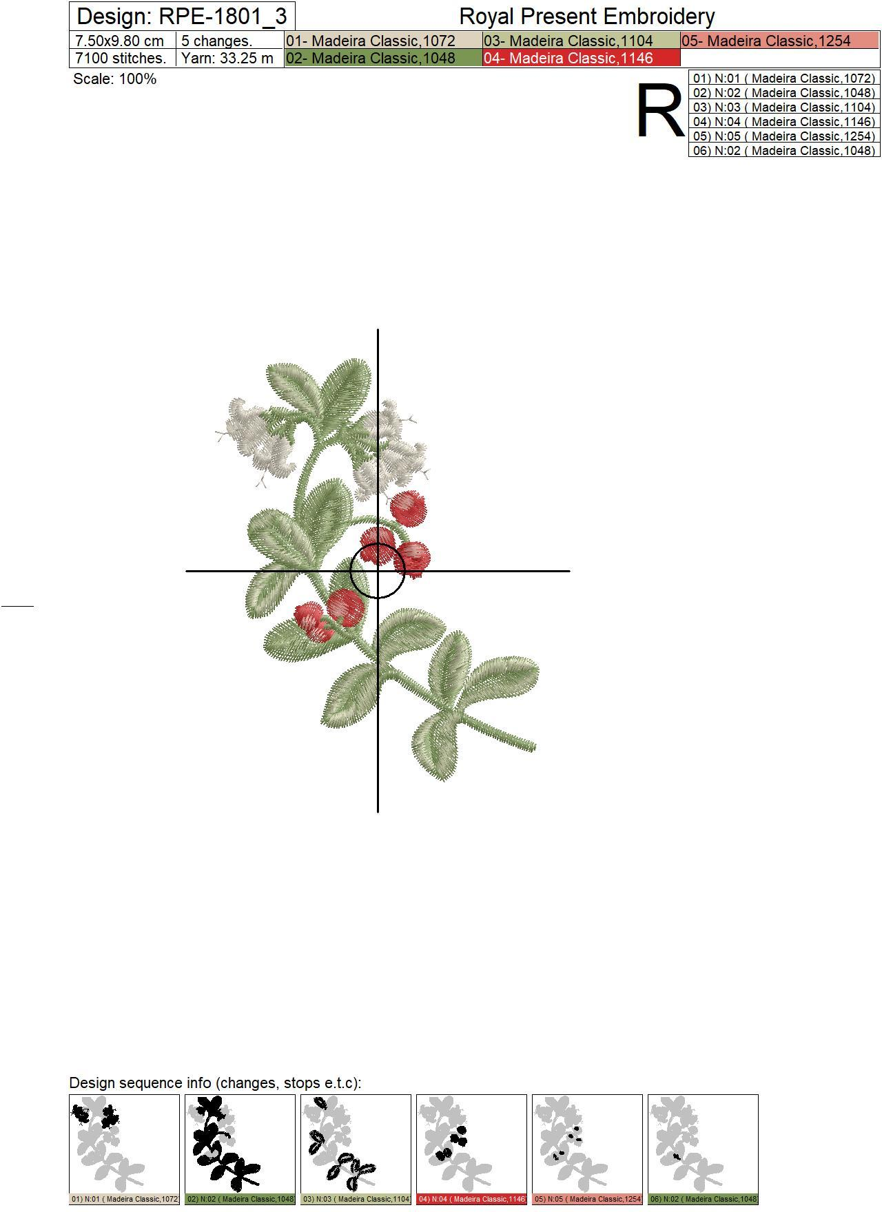 Lingonberry berries Machine Embroidery Designs - 3 sizes