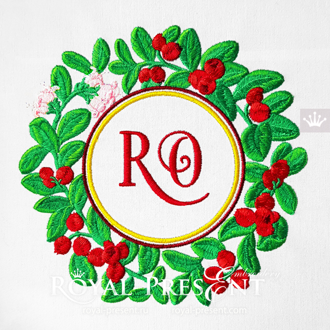 Lingonberry berries round frame Machine Embroidery Design - 4 sizes RPE-1802