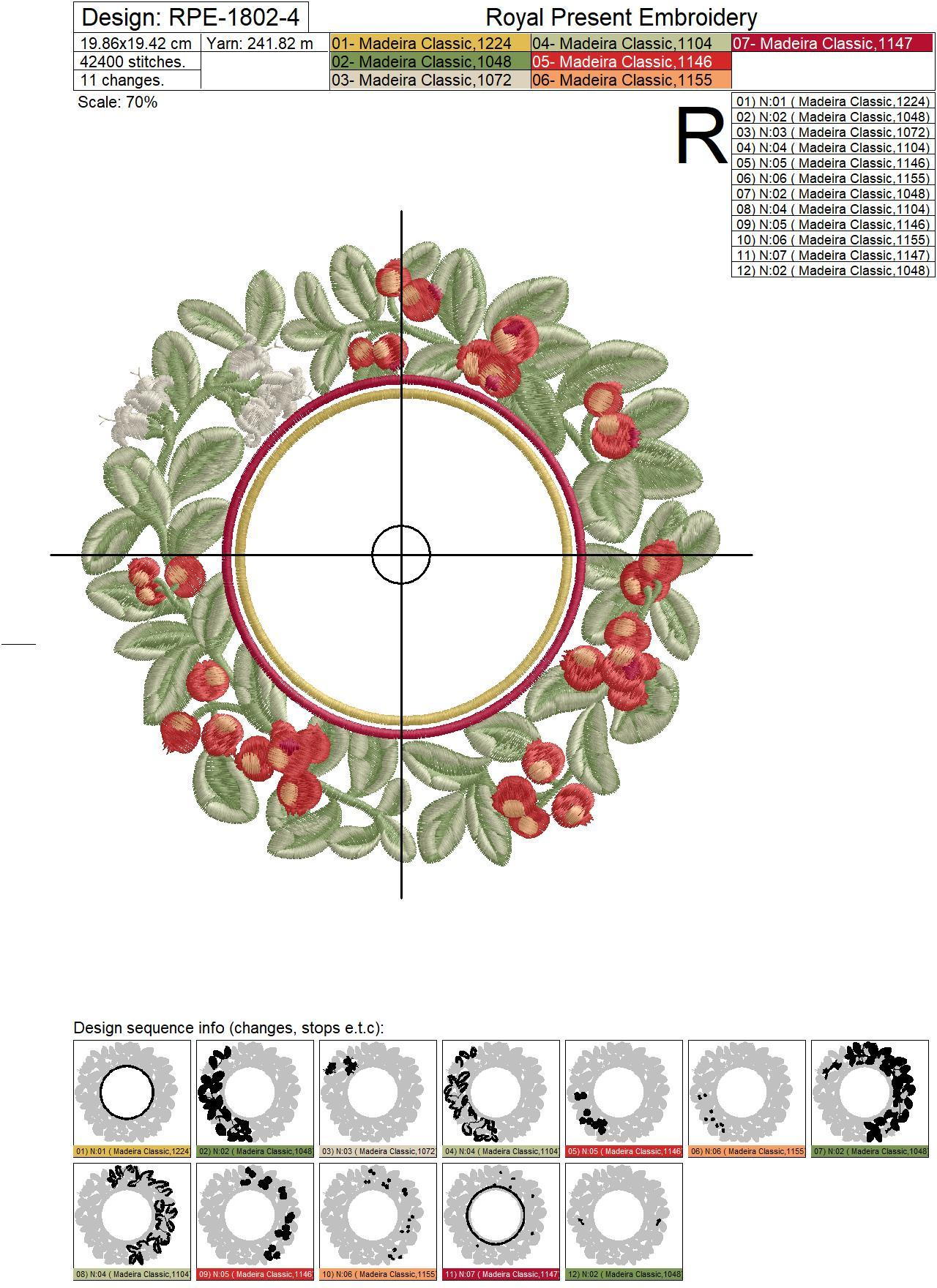 Lingonberry berries round frame Machine Embroidery Design - 4 sizes