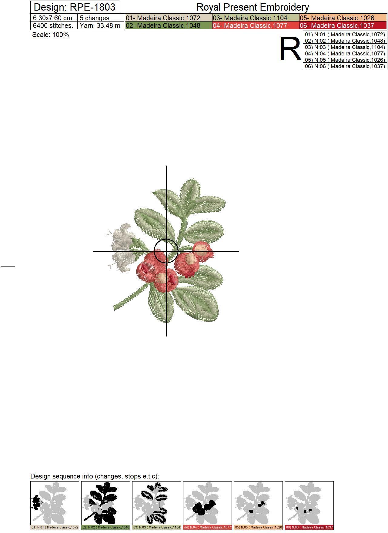 Lingonberry Botanical Free Machine Embroidery Design