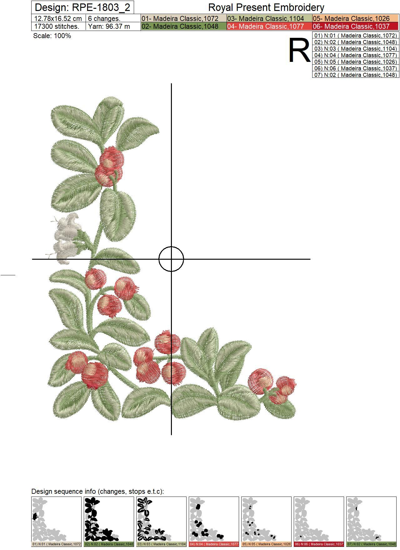 Lingonberry Botanical Machine Embroidery Designs - 3 sizes