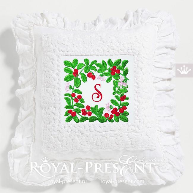Lingonberry Botanical square frame Machine Embroidery Design - 3 sizes RPE-1804