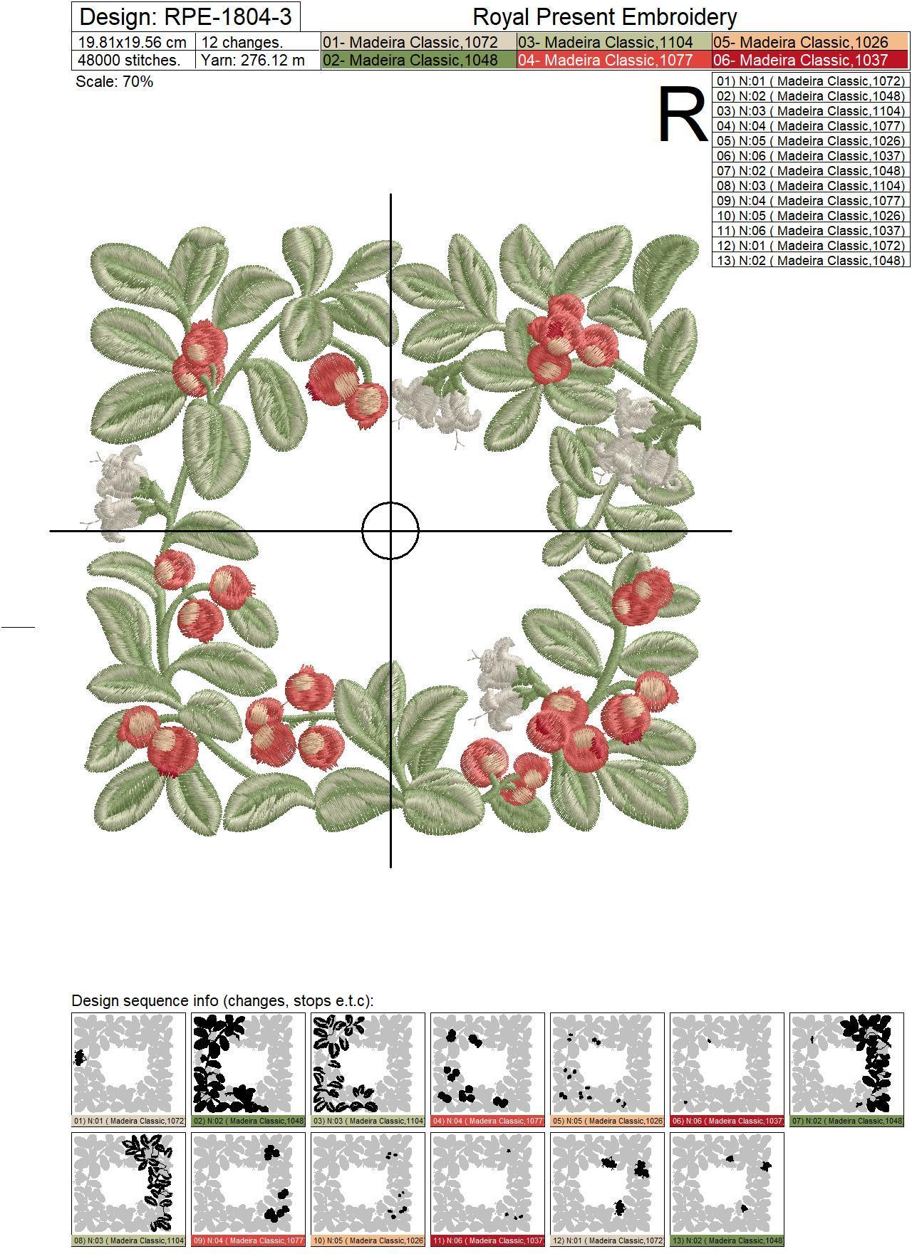 Lingonberry Botanical square frame Machine Embroidery Design - 3 sizes
