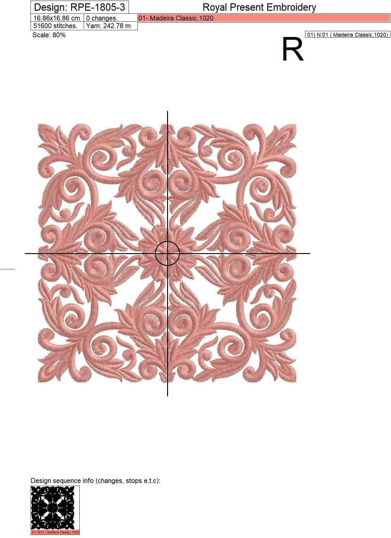 Retro style Machine embroidery design - 3 sizes