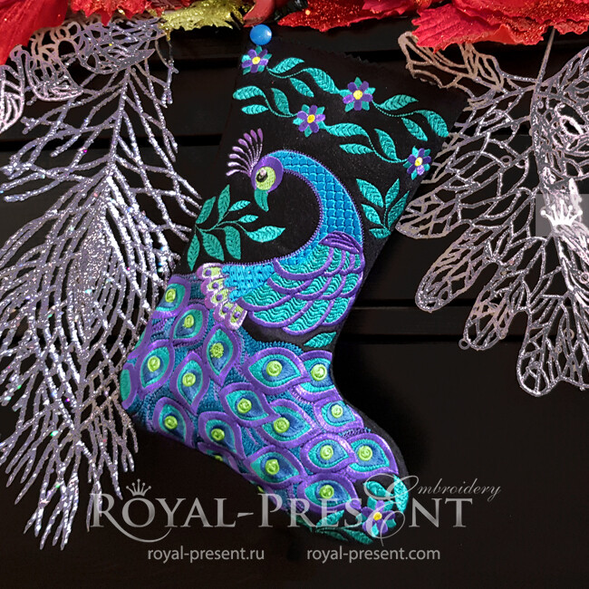 ITH Christmas stocking with Peacock embroidery design - 4 sizes