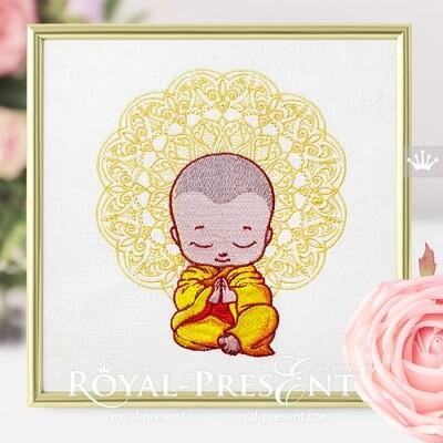 Cute meditating Buddha Machine Embroidery Design - 2 sizes