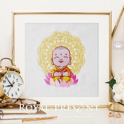 Cute Smiling Buddha Machine Embroidery Design - 2 sizes